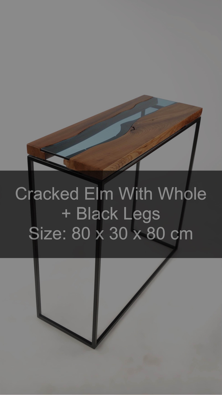 Beistelltisch aus durchgerissenem Massivholz Ulme mit Loch + schwarze Beine