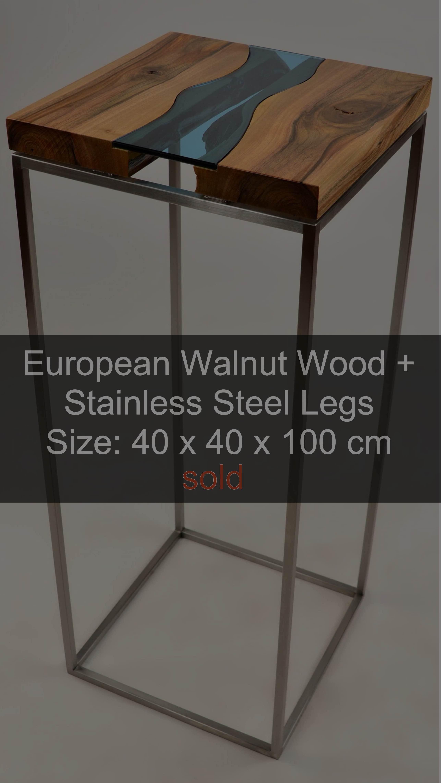 Beistelltisch aus Europäischem Massivholz Nussbaum + Edelstahlbeine