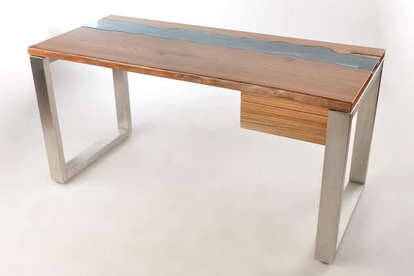 Schreibtisch aus Massivholz Ulme mit natürlichem Rand auf der Vorderseite + Schublade